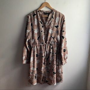 Selected Femme tan floral tie waist shirt dress